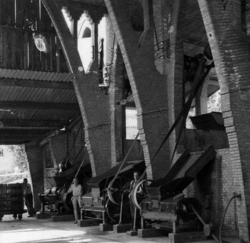 La sala de màquines del Celler és on els pagesos feien la producció del vi de la collita del raïm