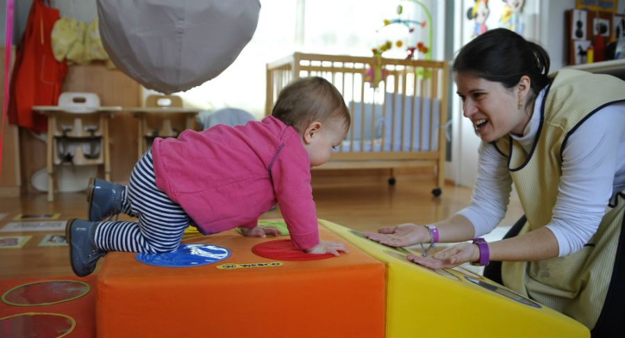 Un bebè a l'escola bressol Magnòlia FOTO: Cedida