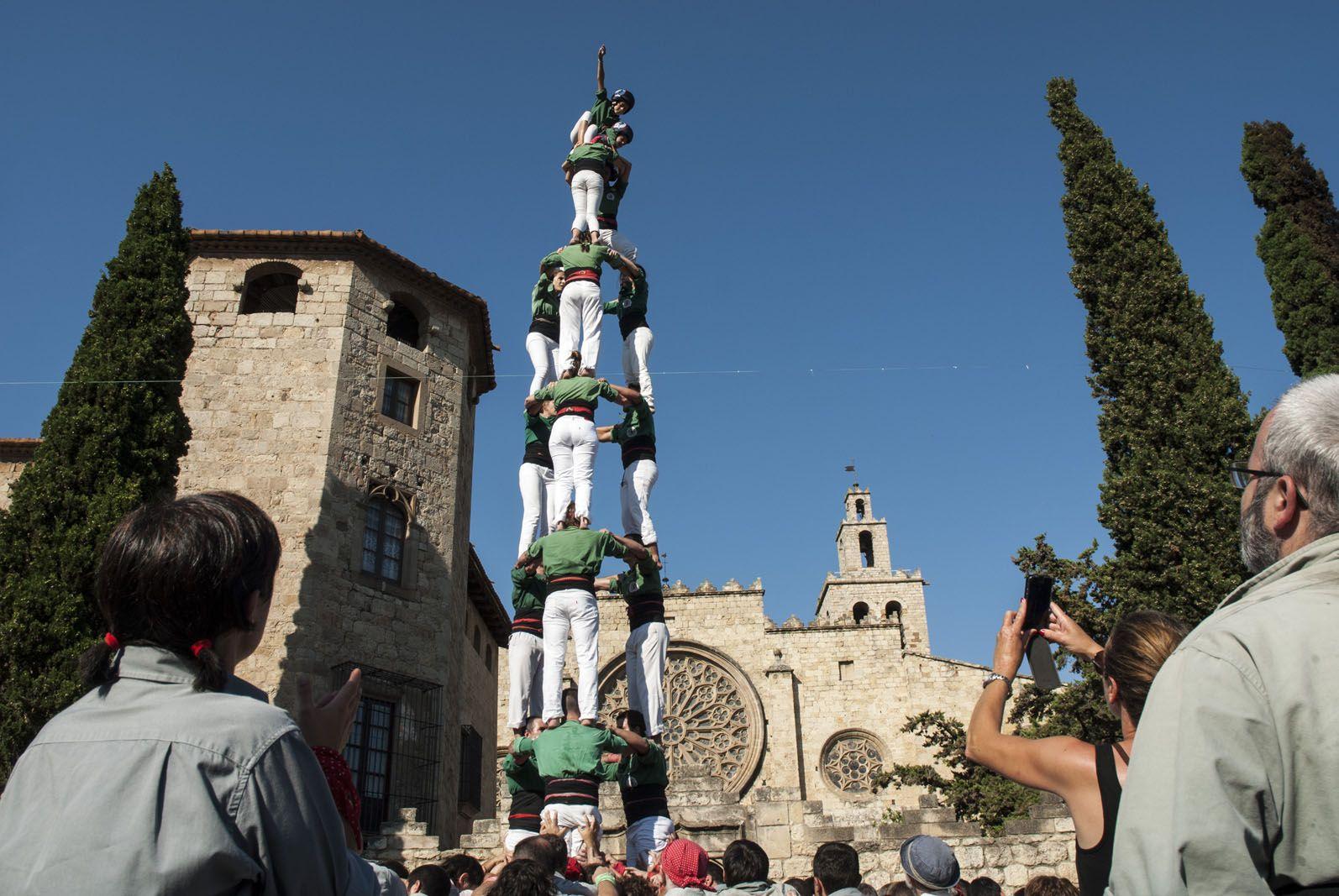 Els Castellers de Sant Cugat també han carregat el 3 de 8. FOTO: Aida Sotelo