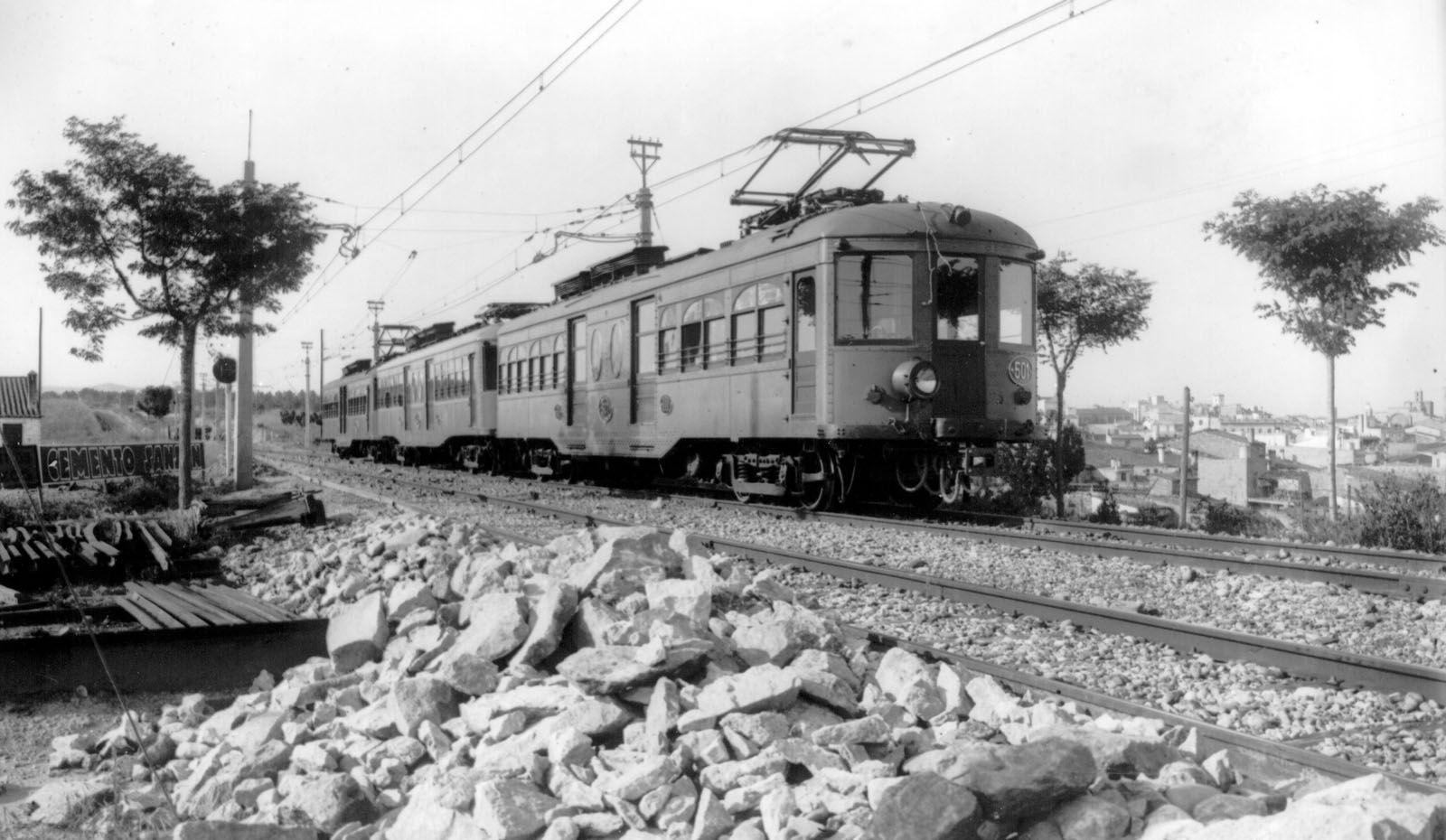 El tren va arribar a Sant Cugat per primera vegada ara fa 100 anys FOTO: Arxiu FGC