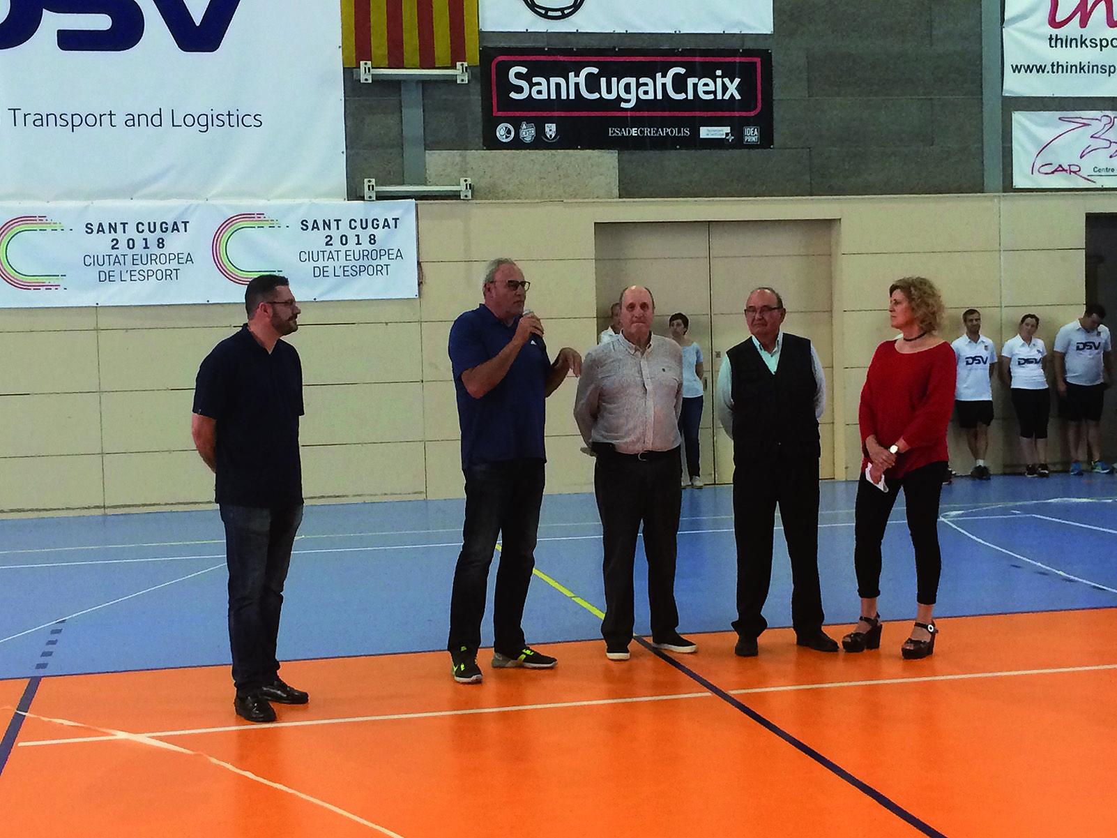 Els cinc presidents del club: Lluís Moreno, Miquel Martínez, Francesc Tortosa, Carles Castro i Núria Terribas. Foto Arxiu Tot Sant Cugat.