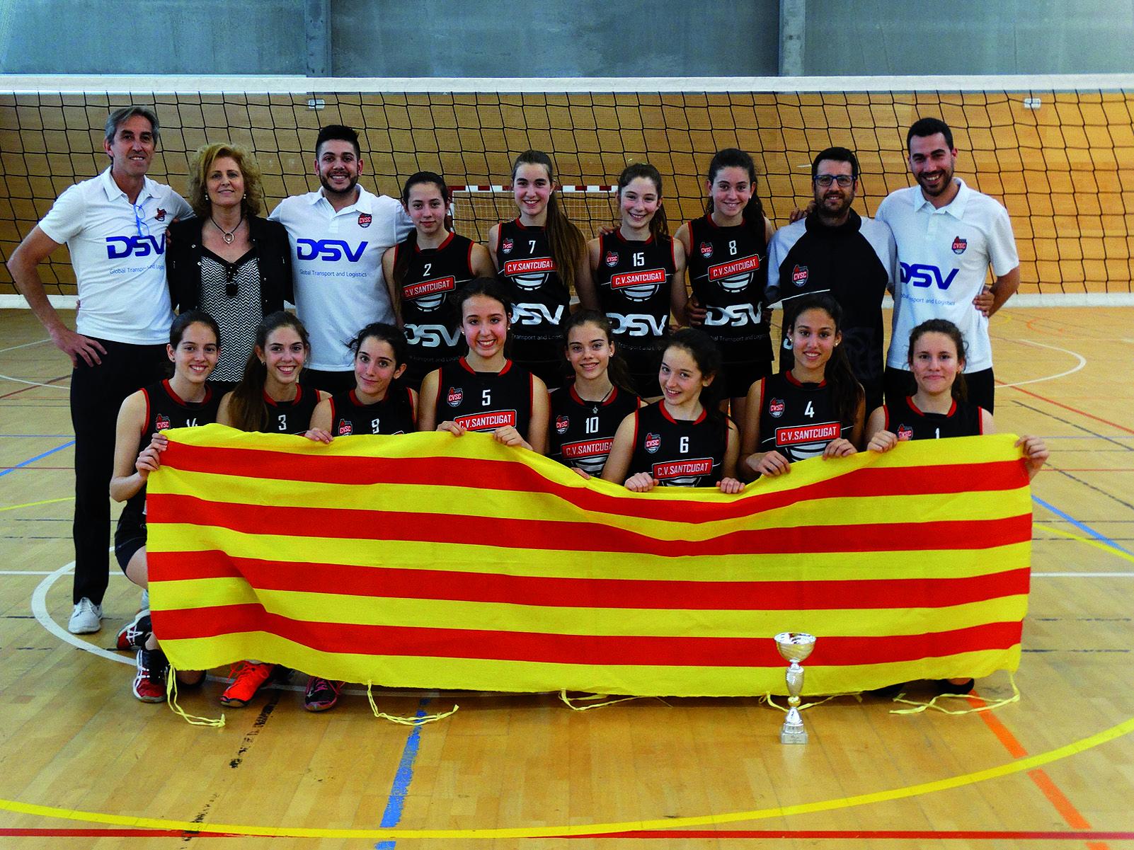 Al 2016, l'Infantil A va ser campió de Catalunya. Foto Arxiu Club Volei Sant Cugat.