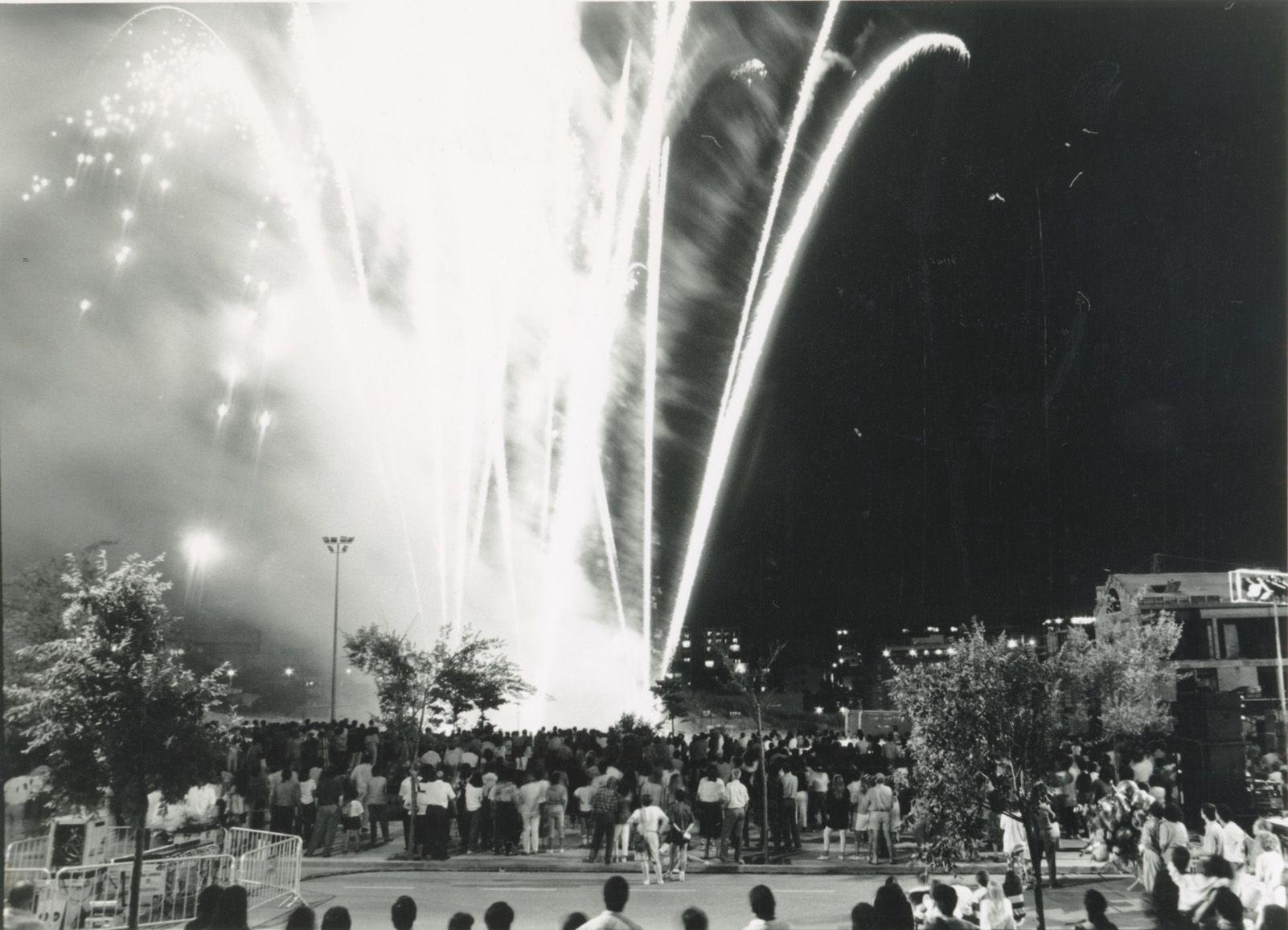 Focs artificials de Festa Major a l'any 1992. Foto: Mané Espinosa.