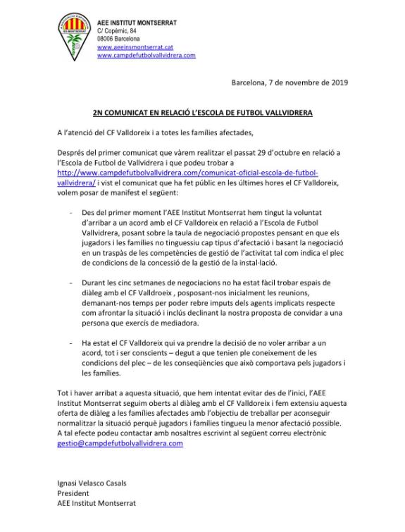 Segon comunicat de l'AEE Institut Montserrat. FOTO: Twitter AEE Institut Montserrat