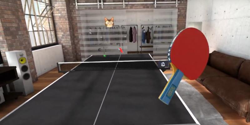 Alex Stiévenart, de la secció de tenis taula de la UESC, entrenant amb realitat virtual. FOTO: Cedida