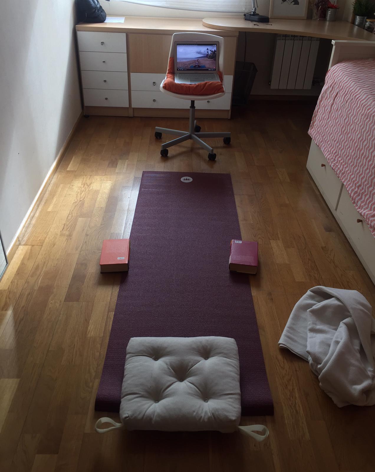 Cada, dia intento fer una rutina d'exercicis, principalment ioga, per intentar estar relaxada i enfortir tant els músculs com el sistema inmunitari.