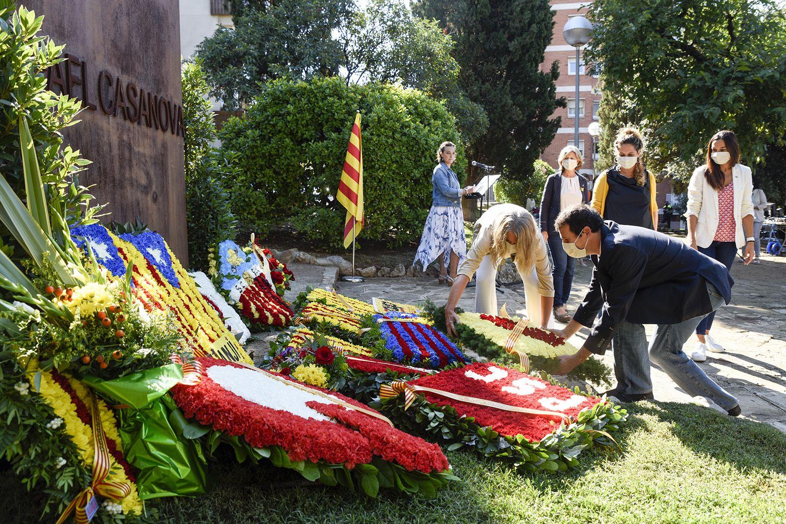 Ofrena Institucional al monument de Rafael Casanova. Foto: Bernat Millet.