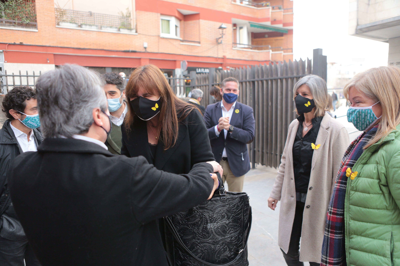 Laura Borràs, arribant a l'acte de Junts per Catalunya a Sant Cugat. FOTO: Artur Ribera