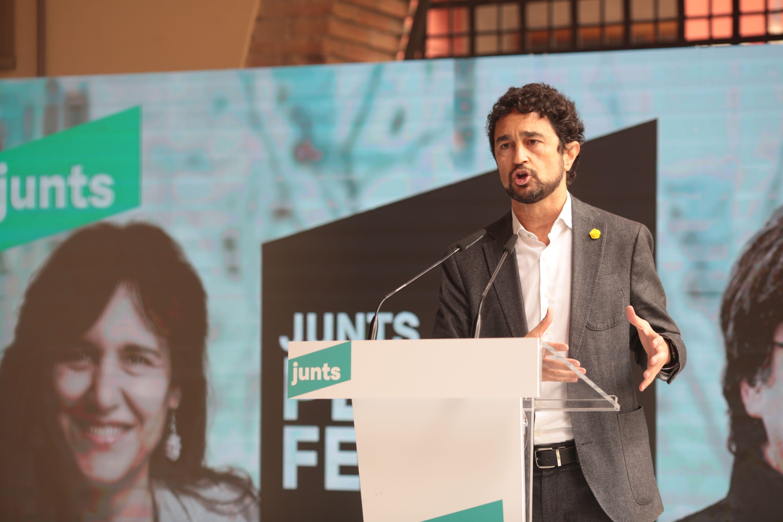 El conseller santcugatenc Damià Calvet en l'acte de Junts per Catalunya. FOTO: Artur Ribera