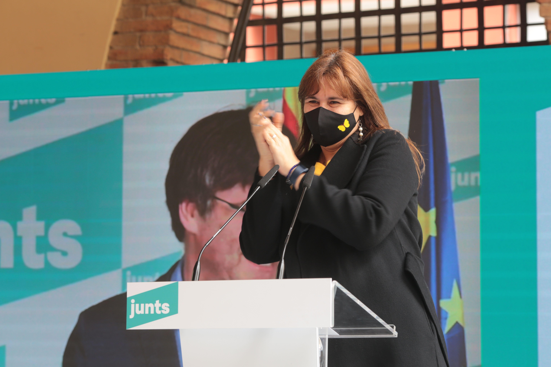 Laura Borràs, número 2 a la llista de Junts per Catalunya i presidenciable al Parlament, a Sant Cugat. FOTO: Artur Ribera