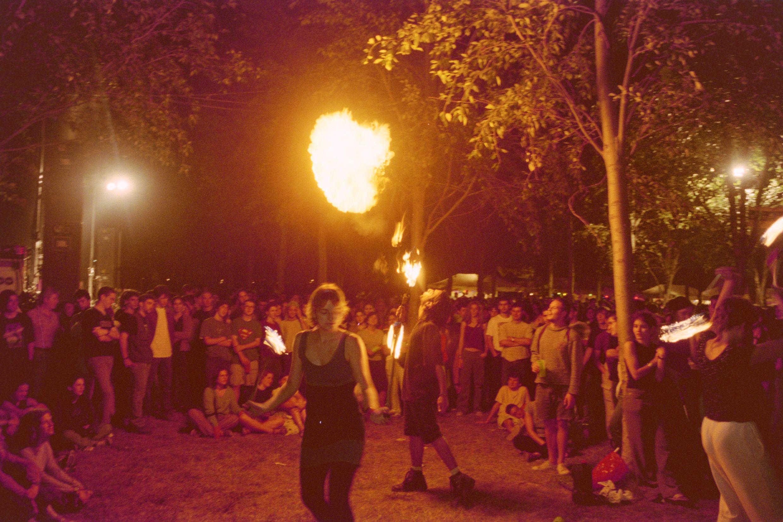 Barraques de Festa Major de l'any 2000. FOTO: Arxiu