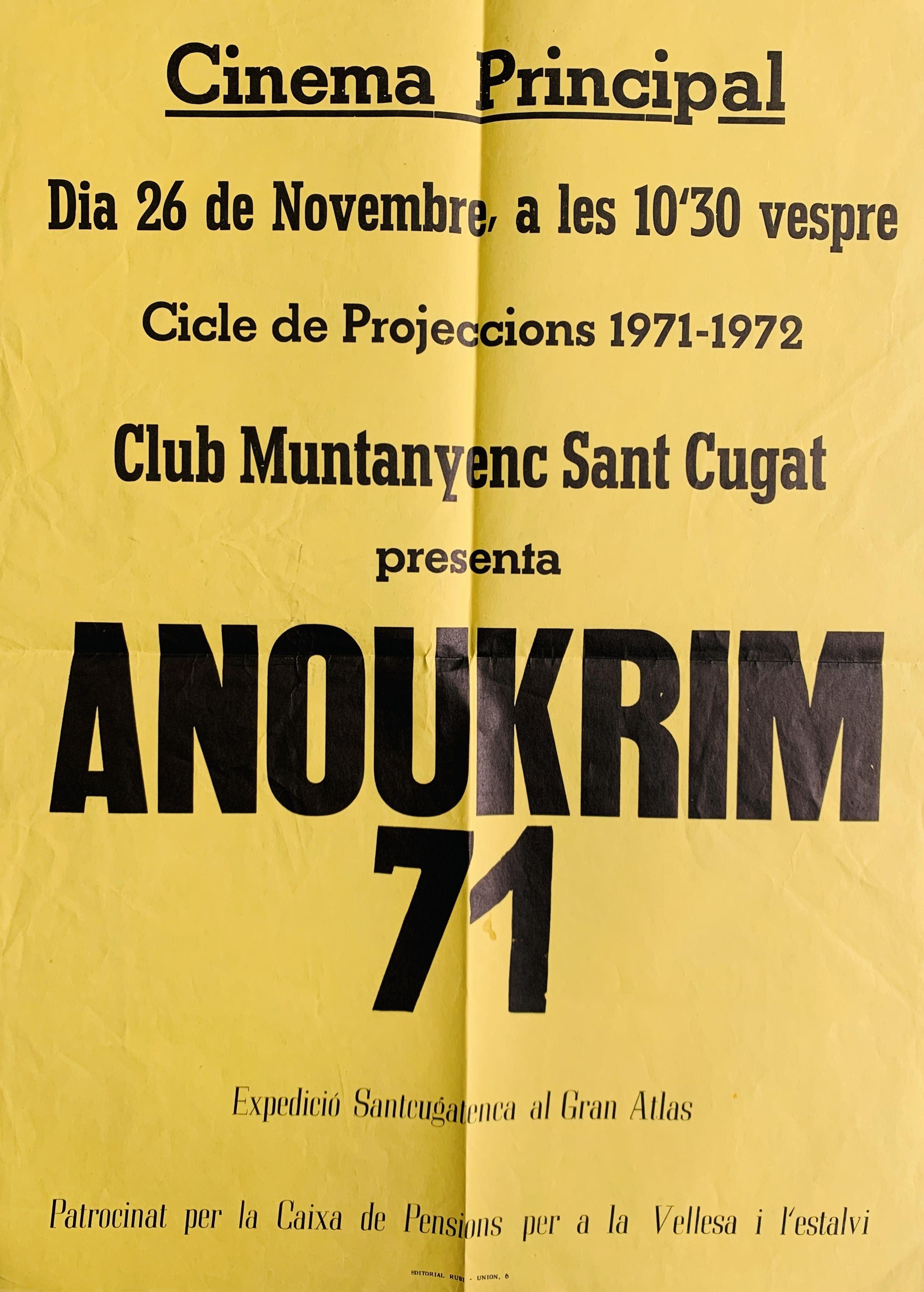 Cartell anunciant la projecció de l'expedició al Cinema Principal de Sant Cugat