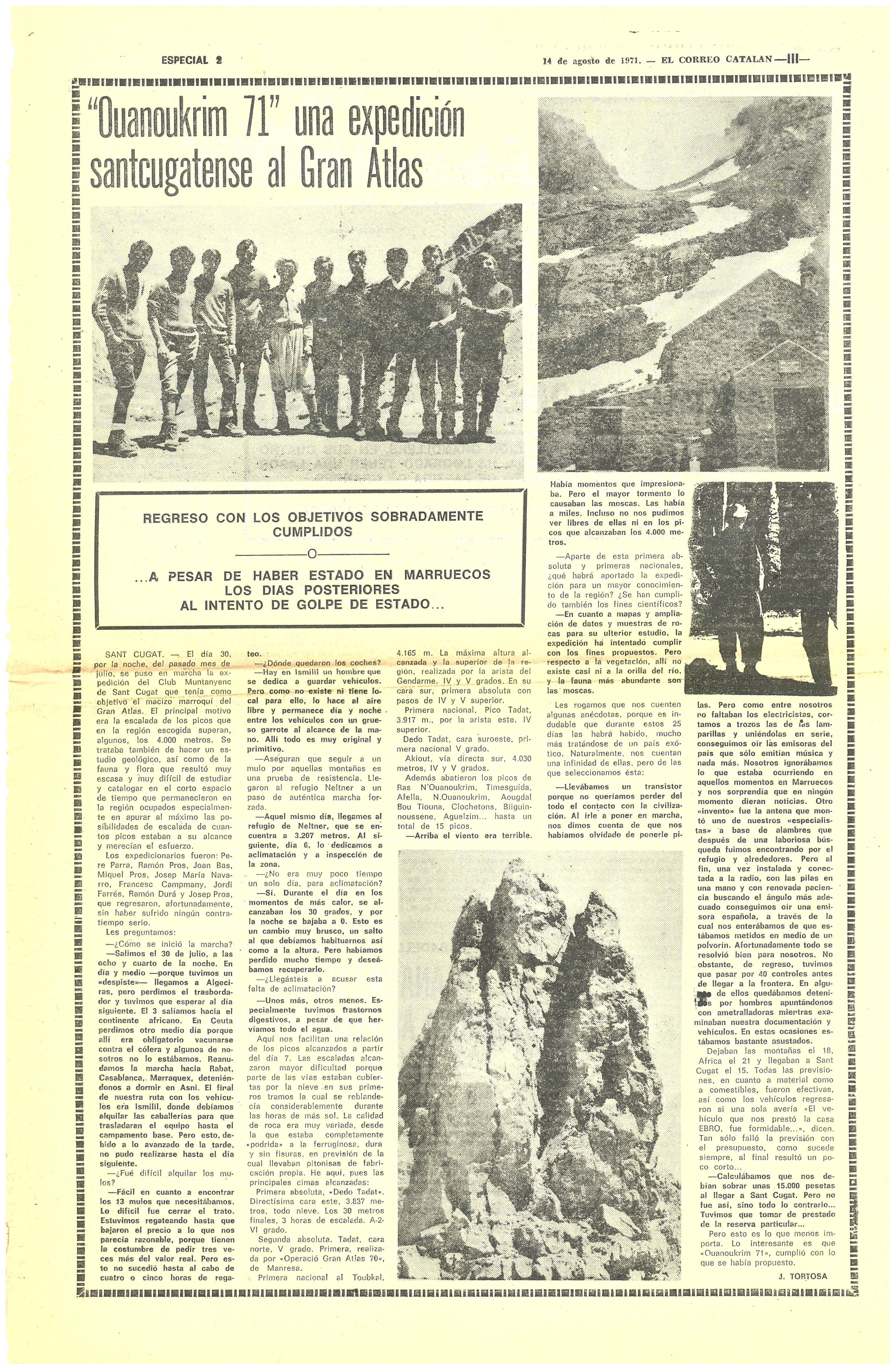 """Pàgina del reportatge de l'expedició al diari """"El Correo Catalán"""" pel periodista santcugatenc, J. Tortosa."""