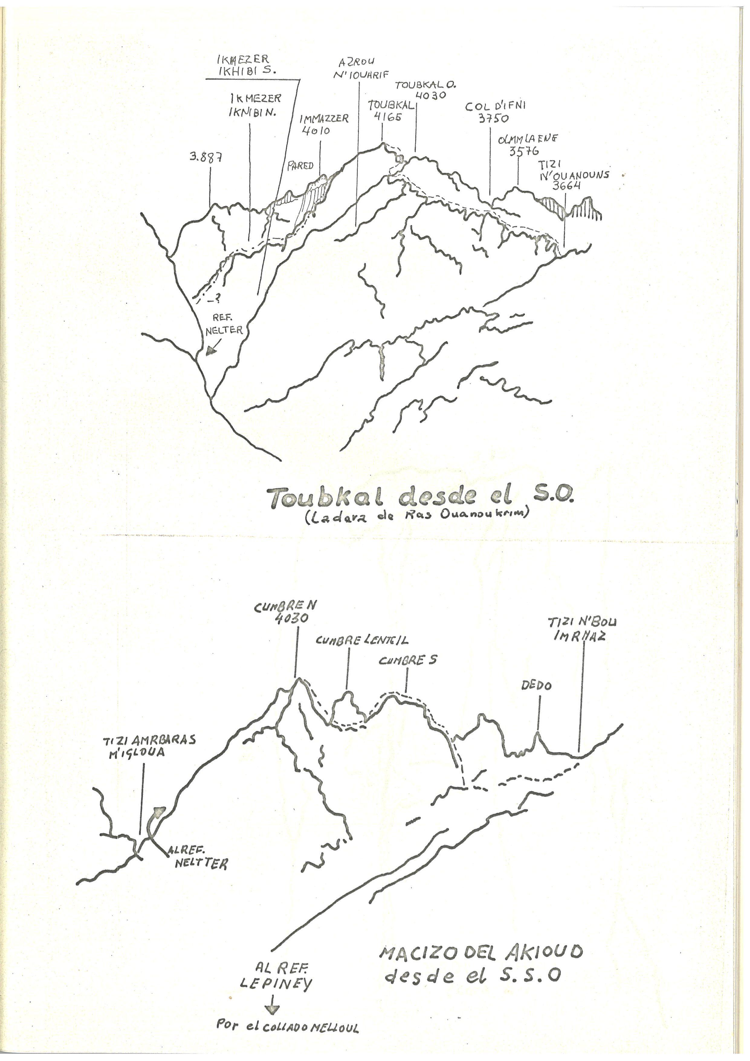 Pàgina del llibret promocional de l'expedició amb dibuixos de la zona del Toubkal i Akioud